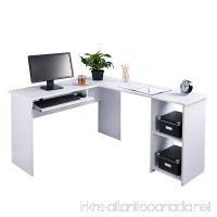 Fineboard L-Shaped Office Corner Desk 2 Side Shelves White - B01MRLHATK