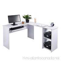 Fineboard L-Shaped Office Corner Desk 2 Side Shelves  White - B01MRLHATK
