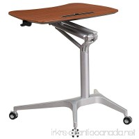 Flash Furniture Mobile Sit-Down Stand-Up Mahogany Computer Desk with 28.25''W Top (Adjustable Range 29'' - 41'') - B01IHVFTYK