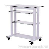 "HOMCOM 33"" Glass Top Mobile Home Office Computer Cart Desk - White - B016QV82PQ"