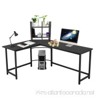 L-shaped Large Computer Desk Table Office Laptop PC Workstation with Free CUP Stand and Storage Shelf (Black) - B076H369Z3