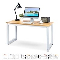 "Luxxetta Office Computer Desk – 55"" x 23"" Beige Laminated Wooden Particleboard Table and White Powder Coated Steel Frame - Work or Home – Easy Assembly - Tools and Instructions Included – by - B078JV826H"