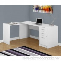 Monarch Specialties I 7136 White Corner with Tempered Glass Computer Desk - B01D1JHTQO