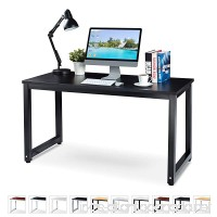 "Office Computer Desk – 55"" Black Laminated Wooden Particleboard Table and Black Powder Coated Steel Frame - Work or Home – Easy Assembly - Tools and Instructions Included – by Luxxetta - B077TC7386"