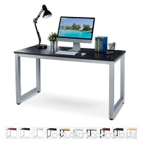 "Office Computer Desk – 55"" Black Laminated Wooden Particleboard Table and Gray Powder Coated Steel Frame - Work or Home – Easy Assembly - Tools and Instructions Included – by Luxxetta - B078JQFGPZ"