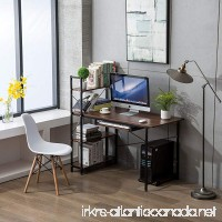 Office Desktop Laptop Computer Compact Desk with 4 Shelves Home Study Writing Table with Storage (Teak) - B07D6GTLWN