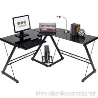 OneSpace Ultramodern Glass L-Shape Desk Black - B01GFZZAE4