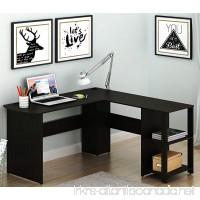 SHW L-Shaped Home Office Wood Corner Desk  Espresso - B073KRJM1V