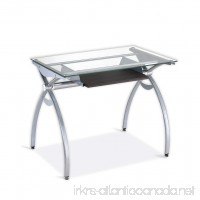Techni Mobili Contempo Clear Glass Top Computer Desk With Pull Out Keyboard Panel. Color: Clear - B001K92F30