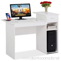 Topeakmart White Student Computer Desk with Drawer and Shelf Home Office Laptop Table Study Workstation Furniture Wood Heavy Duty - B0719TF99N