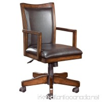 Ashley Furniture Signature Design - Hamlyn Swivel Office Desk Chair - Casters - Traditional - Medium Brown Finish - Brown Faux Leather - B01F8MDDCQ
