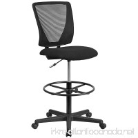 Flash Furniture Ergonomic Mid-Back Mesh Drafting Chair with Black Fabric Seat and Adjustable Foot Ring - B01N5I2SCW