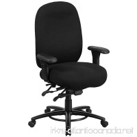 Flash Furniture HERCULES Series 24/7 Intensive Use Big & Tall 350 lb. Rated Black Fabric Multifunction Swivel Chair with Foot Ring - B011EVTQUS