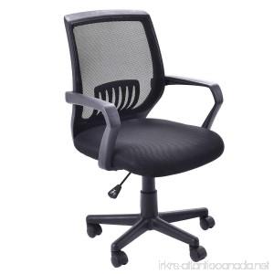 Giantex Mesh Office Chair Mid Back Swivel Lumbar Support Desk Chair Computer Ergonomic Mesh Chair With Armrest Black - B07DN93Q46