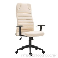 HOMCOM High Back Ergonomic Desktop Computer Chair with Lumbar Support and Arms - Cream White - B07BF937RT