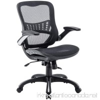 Kerms Ergonomic Adjustable Swivel Office Chair With Lumbar Support and Rollerblade Wheels-Mid Back With Breathable Mesh-Thick Seat Cushion-Flip Up Arms Desk Chair Black/Silver - B07D71MP5J