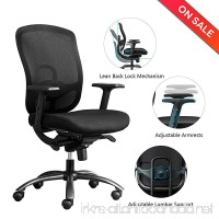 LONGEM Mid Back Mesh Office Chair - Adjustable Angle Recline Locking System  Ergonomic Back Lumbar Support and PU Armrest Computer Desk Task Executive Chair - B071W3NSBQ