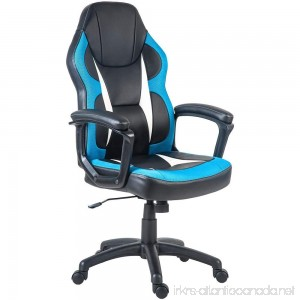 Merax Racing Gaming Style Task Chair for Home and Office PU Leather and Mesh (Blue) - B074H6ZT7H