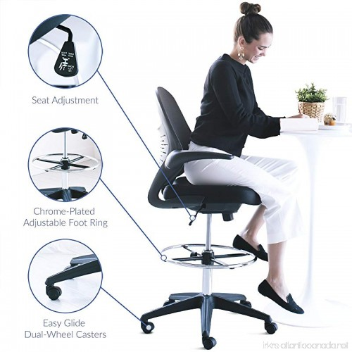 Modway Stealth Drafting Chair In Black Reception Desk Chair Tall Office Chair For Adjustable Standing Desks