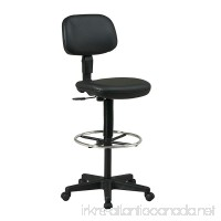 Office Star Sculptured Vinyl Seat and Back Pneumatic Drafting Chair with Adjustable Chrome Foot ring Black - B0039MIMRE