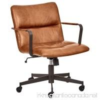 Rivet Mid-Century Leather Three-Panel Chair on Wheels 25.75 W Saddle - B076N53WVF