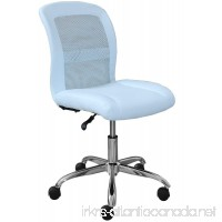 Serta Essentials Ergonomic Armless Low-Back Computer Swivel Task Chair Faux Leather and Mesh Blue - B075B2YYKV