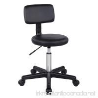 SONGMICS Adjustable Massage Salon Spa Stool Swivel Rolling Chair with Padded Stool and Back Support PU Black ULJB82B - B078NKZ1ND
