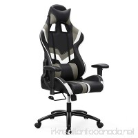 SONGMICS Gaming Chair Swivel Office Chair with High Back Molding Foam Padded Cushion Adjustable Headrest and Lumbar Support/ for Home or Office Desk Black and White URCG27BW - B078GDFHBB