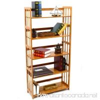 Bookcase Multifunctional Storage Rack 5 Tier Bookshelf Bamboo Natural - B06Y35QB6X