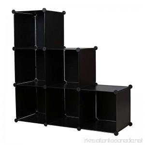 C&AHOME DIY Stair Shape Bookcase 6-Cube Storage Closet Organizer Toy Rack Shoe Case Shelf 3-tier Cube Cabinet (Black) - B01AW9NHT4