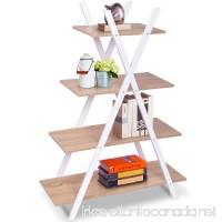 Giantex 4 Tier Bookshelf Shelves Ladder Home Office X-Shape Storage Bookcase Display - B075NCV58B