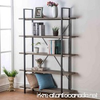 HSH Furniture 5-Shelf Vintage Industrial Rustic Bookshelf Wood and Metal Bookcase Open Etagere Book Shelf Dark Oak - B074FSG29C