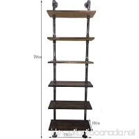 Industrial 6-Tiers Modern Ladder Shelf Bookcase  Wood Storage Shelf Display Shelving  Wall Mounted Wood Shelves  Metal Wood Shelves Bookshelf Vintage Wrought Iron Finish - B06Y5M3GD7