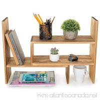 MyGift Burnt Wood Adjustable Desktop Organizer Display Shelf  Counter Top Bookcase - B078WGMPC7