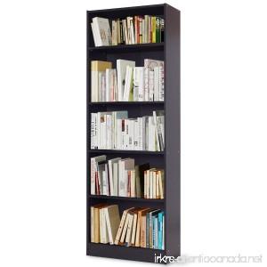 TANGKULA 5-Shelf Bookcase Modern Wood Multipurpose Collection Display Storage Shelves Black - B07BBKCM8S