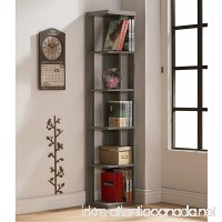 Weathered Grey Finish Wood Wall Corner 5-Tier Bookshelf Bookcase - B01LY6TWJP