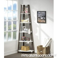 White / Grey Finish Two-Tone Wood Wall Corner 5-Tier Bookshelf Bookcase Accent Etagere - B078H52L3X