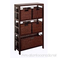 Winsome Wood Leo Wood 4 Tier Shelf with 5 Rattan Baskets - 1 large; 4 small in Espresso Finish - B002SSUKOI