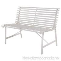 "47"" Garden Bench White Gray Steel Outdoor Backyard Lawn Slat Back Seat Furniture - B074P5Y185"