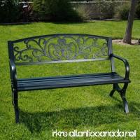 "Belleze 50"" Garden Backyard Bench  Metal  Black - B01CDNE3V8"