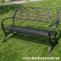 "Belleze 50"" Welcome Vines Decorative Patio Garden Outdoor Park Bench Seat Backyard  Bronze - B06ZYWSGKB"