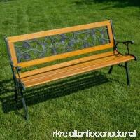 Belleze Patio Park Garden Bench Porch Path Chair Outdoor Deck Cast Iron Hardwood - B01CDR8IMO