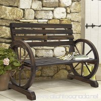 Best Choice Products Patio Garden Wooden Wagon Wheel Bench Rustic Wood Design Outdoor Furniture - B01D3O2ICM