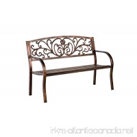 Blooming Patio Garden Bench Park Yard Outdoor Furniture Iron Metal Frame Elegant Bronze Finish Sturdy Durable Construction Scrollwork Design Easy Assembly 50 L x 17 1/2 W x 34 1/2 H - B00HS3M0QY