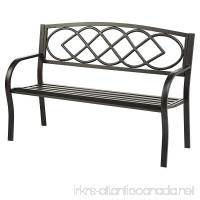 Celtic Knot Patio Garden Bench Park Yard Outdoor Furniture Cast and Tubular Iron Metal Powder Coat Black Finish Classic Decorative Design Easy Assembly 50 L x 17 1/2 W x 34 1/2 H - B00WT4S36S
