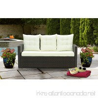 Divano Roma Furniture Outdoor Patio Rattan Bench with Pillows (Brown/Beige) - B07D3HF57G