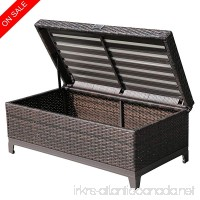 PATIOROMA Outdoor Patio Wicker Storage Deck Box & Garden Bench Deck Box with White Seat Cushion  Espresso Brown Aluminum Frame - B072JTH34T