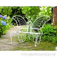 Plow & Hearth Weather-Resistant Butterfly Garden Bench Metal - White - 60¼L x 17¾D x 39½H - B00DTVIXJW