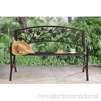 Sunjoy Maple Leaf Steel Frame Patio Garden Park Bench - Black - B01KPJ3ESA