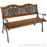Sunnydaze 2-Person Ivy Crossweave Cast Iron Wood Patio Bench  49-Inch - B071YS3GZM